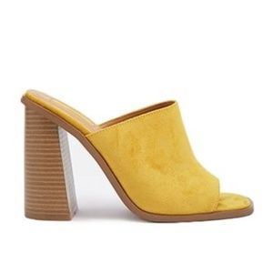 Forever 21 Faux Suede Summer Mules Mustard